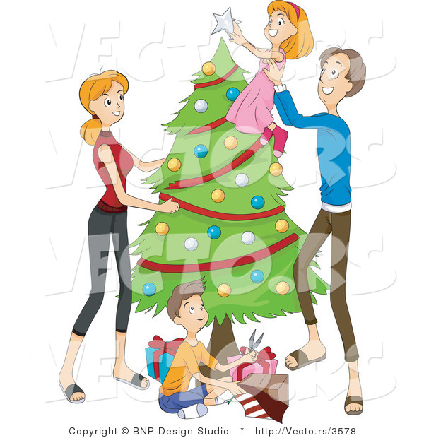 Vector of Dad Lifting Daughter to Put Topper on Christmas Tree While Mother Watches and Son Wraps Presents