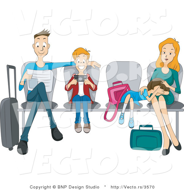 Vector of Dad, Son, Daughter and Mom Sitting Patiently at an Airport