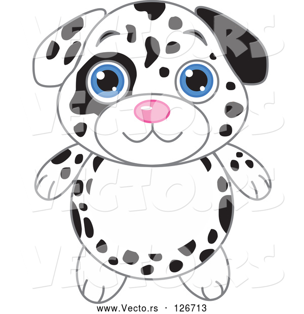 Vector of Dalmatian Puppy with Big Blue Eyes