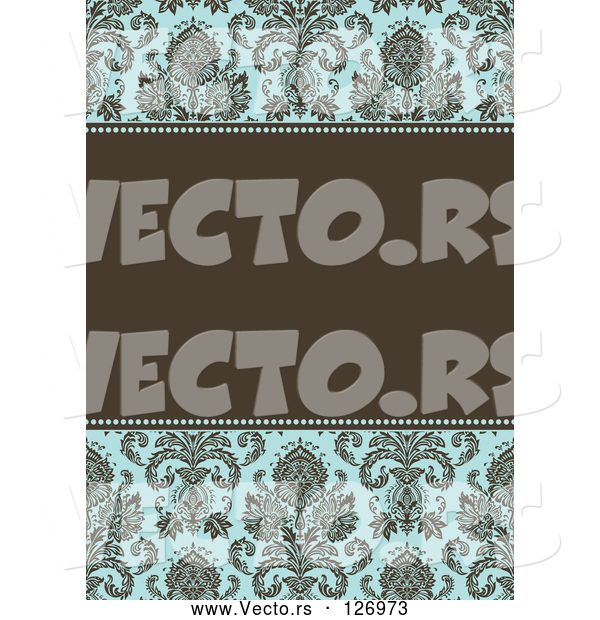 Vector of Damask Patterned Invitation Border and Frame with Copyspace - Version 3