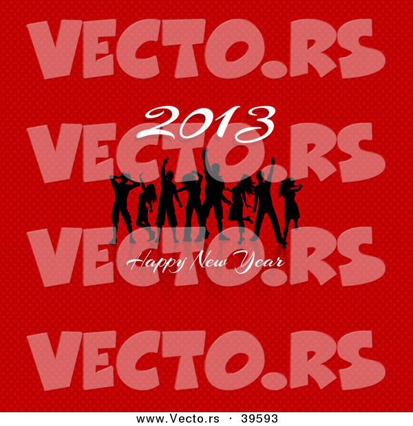 Vector of Dancers Dancing at a Happy New Year 2013 Party over Red Background