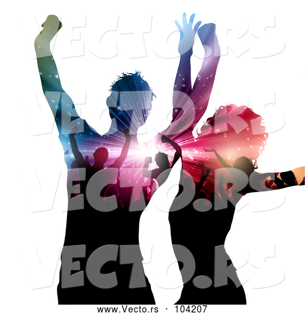 Vector of Dancing Couple with Silhouetted People and Lights on Their Bodies