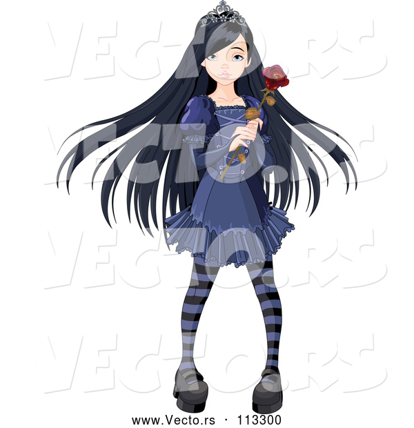 Vector of Dark Gothic Princess with Long Black Hair, Holding a Rose