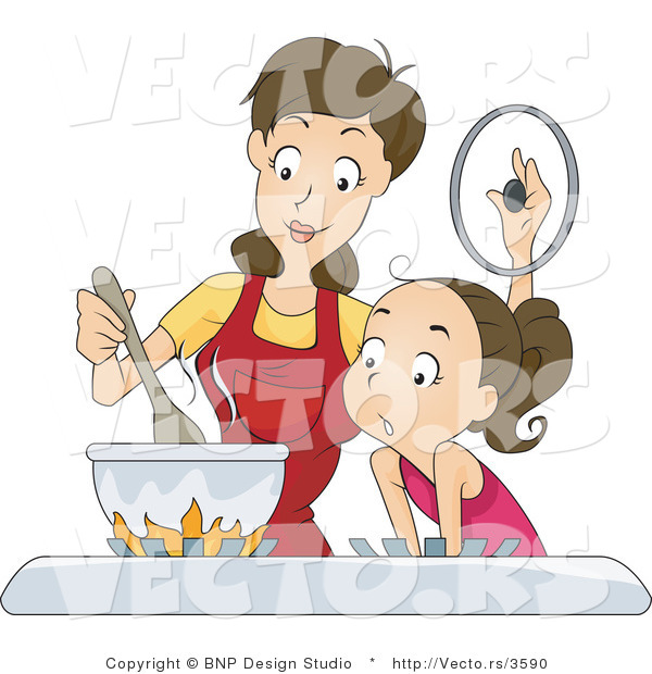 Vector of Daughter and Mom Cooking on a Gas Stove