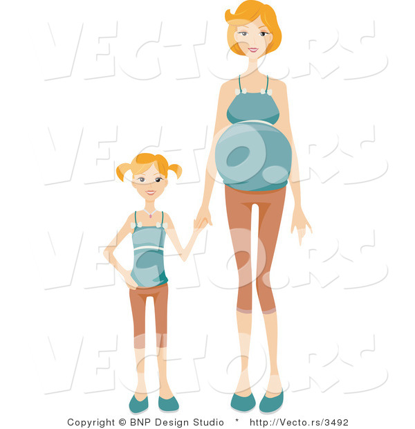 Vector of Daughter Holding Hands with Her Pregnant Mom