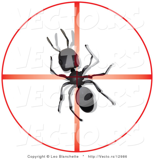 Vector of Dead Ant in Center of Reticle Crosshairs