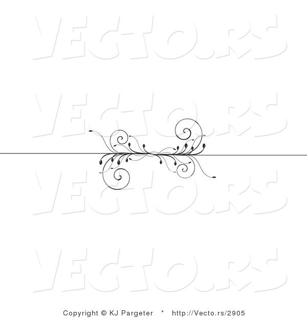 Vector of Decorative Header Rule with Black Vines - Border Design