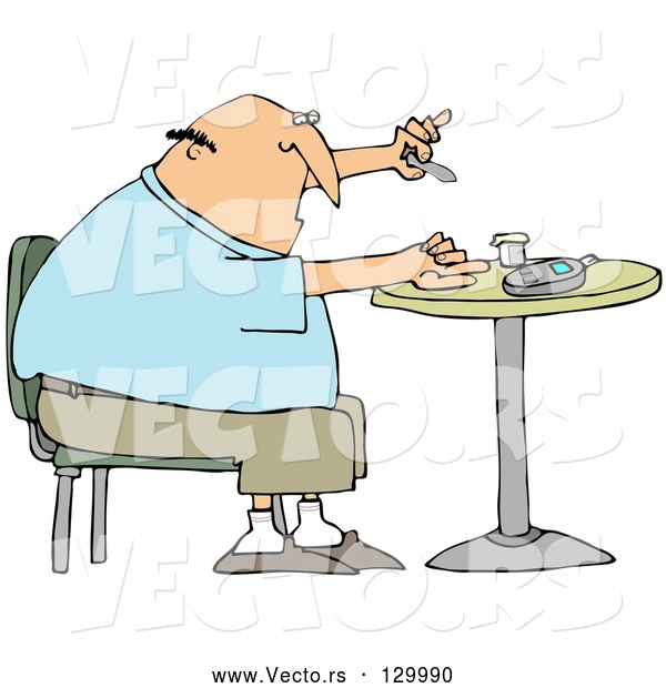 Vector of Diabetic White Guy Sitting in a Chair at a Table and Pricking His Finger with a Lancing Device for a Blood Sample