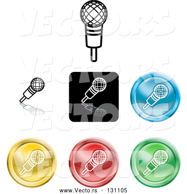 Vector of Different Colored Microphone Icon Buttons