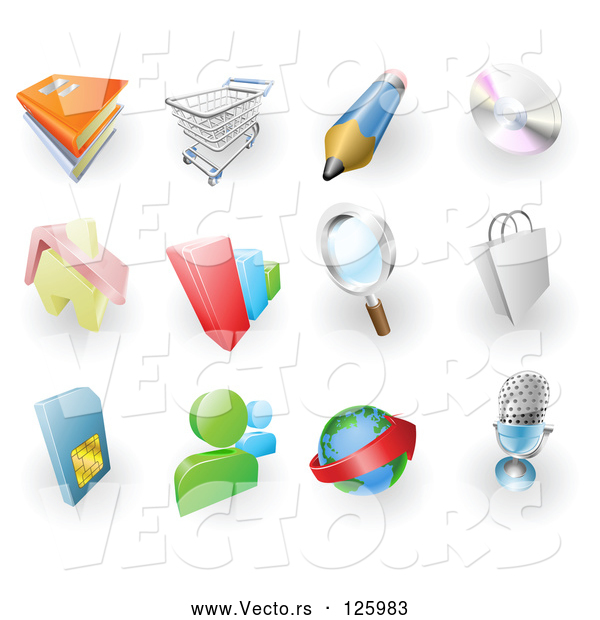 Vector of Digital Collage of Books, Shopping Cart, Pencil, Cd, Home, Bar Graph, Search, Shopping Bag, Sms Card, Chat, Email and Microphone Web Browser Icons