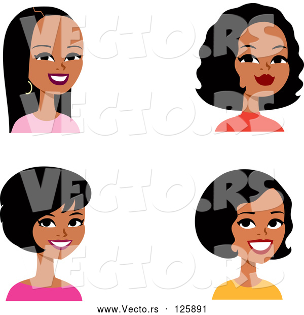 Vector of Digital Collage of Four Hispanic Ladies Smiling