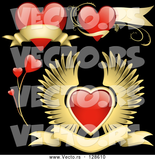 Vector of Digital Collage of Red Love Heart Elements - Version 7