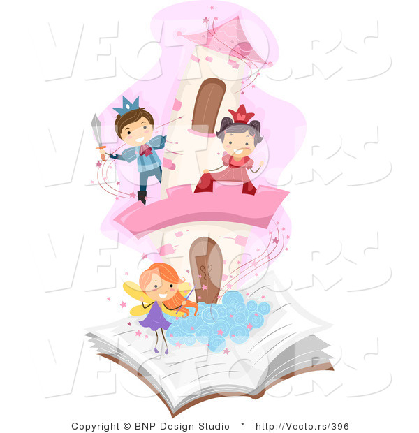 Vector of Diverse School Students Playing in a Pop-up Story Book