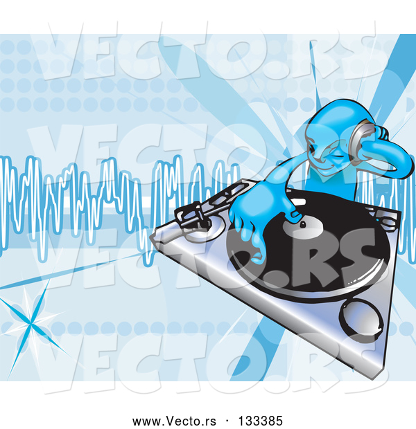 Vector of DJ Mixing Records on a Turntable