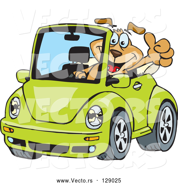 Vector of Dog Driving a Green Slug Bug Convertible and Giving the Thumbs up