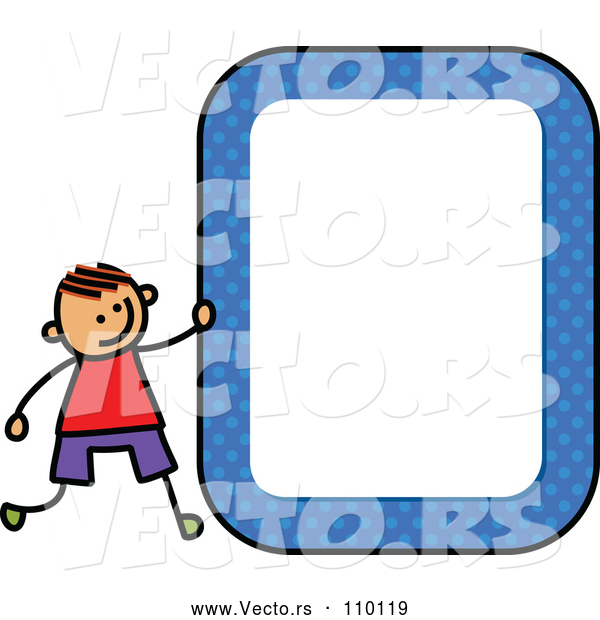 Vector of Doodled Toddler Art Sketched Orange Haired White Boy with a Blue Polka Dot Blank Sign