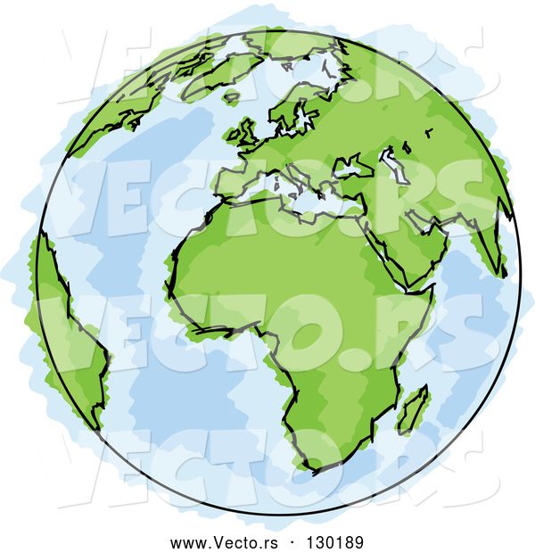 Vector of Drawing of Planet Earth with Green Continents and Blue Seas, Some Coloring out of the Lines