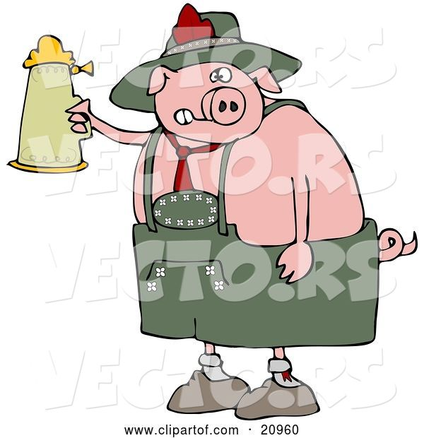 Vector of Drunk Cartoon Pig Drinking a Beer from a Setin at Oktoberfest
