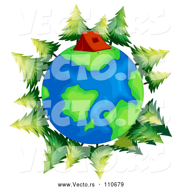 Vector of Earth Globe with a Tent and Evergreen Trees