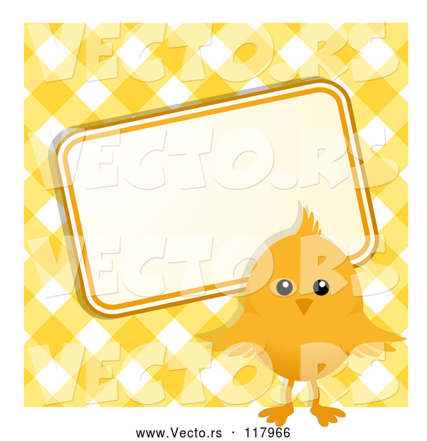 Vector of Easter Chick with a Sign over Yellow Gingham