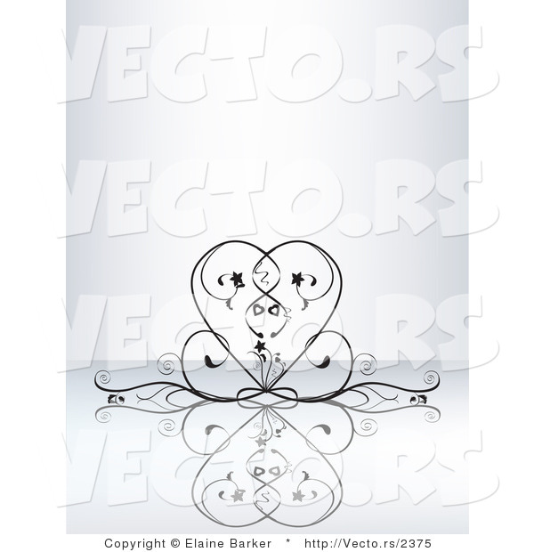Vector of Elegant Black Vines Curving into the Shape of a Heart on a Reflective Background