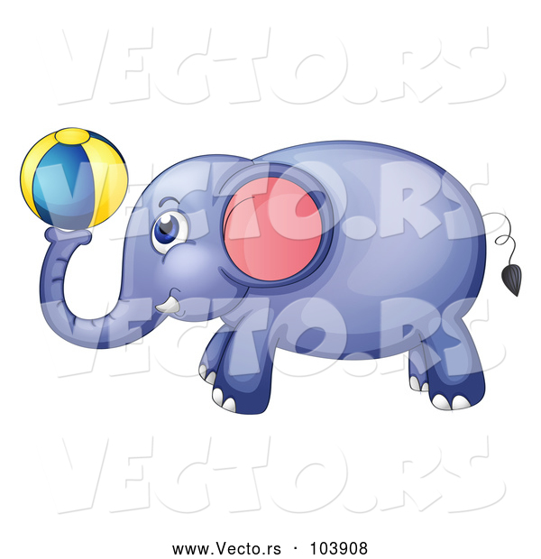 Vector of Elephant Playing with a Ball