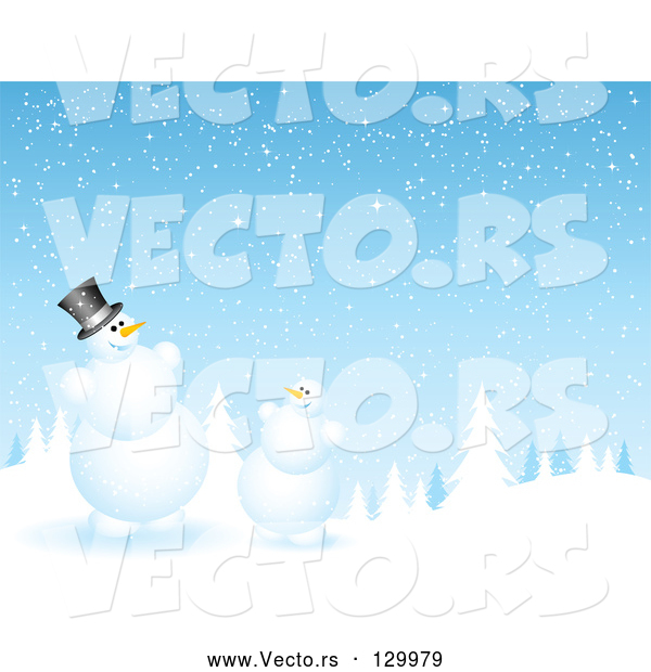 Vector of Evergreen Forest Flocked in Snow on a Snowing Night