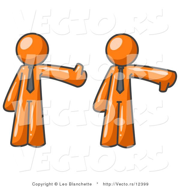 Vector of Expressive Orange Business Guy Giving the Thumbs up Then the Thumbs down