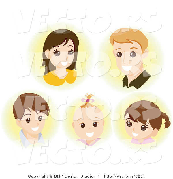 Vector of Faces of a Young Mother, Father and Their 3 Children - Digital Collage Sheet