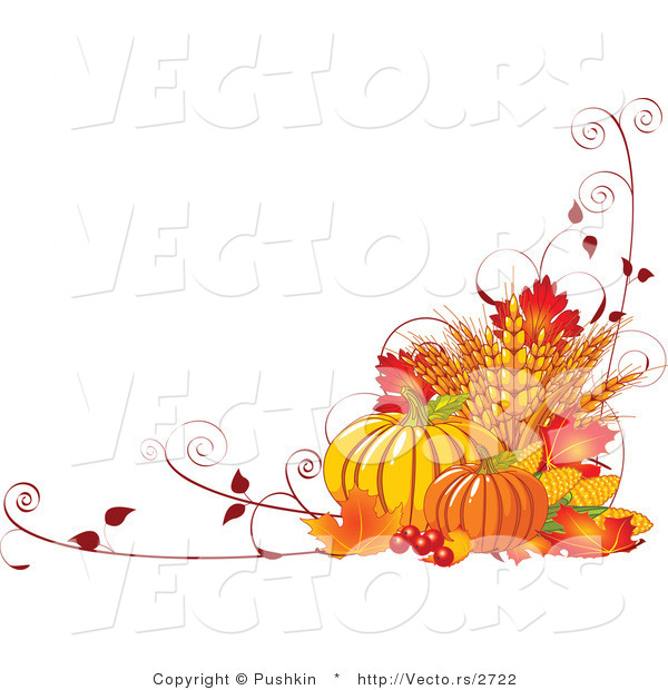 Vector of Fall Harvest with Wheat, Pumpkins, Vines and Autumn Leaves - Background Border Design