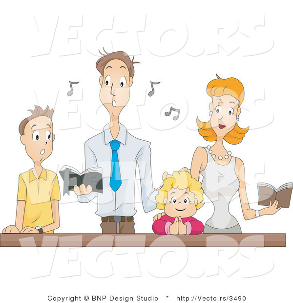 Vector of Family Singing Religious Music Together at Church