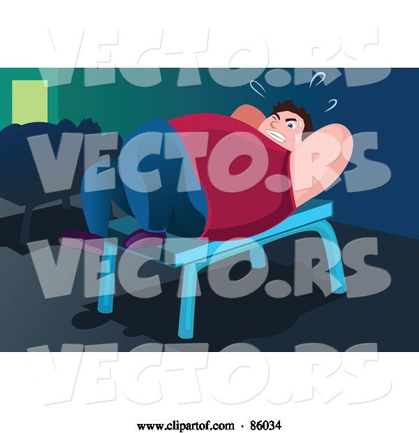 Vector of Fat Guy Doing Situps on a Bench