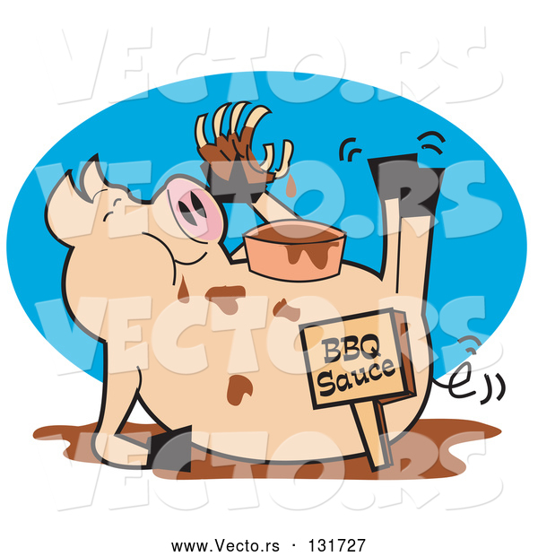Vector of Fat, Hugry Pig Chowing down on Ribs and Bbq Sauce
