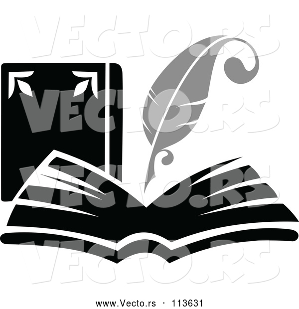 Vector of Feather Quill Pen Writing in a Book or Journal - Grayscale Theme