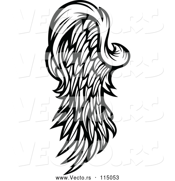 Vector of Feathered Wing - Black Lineart