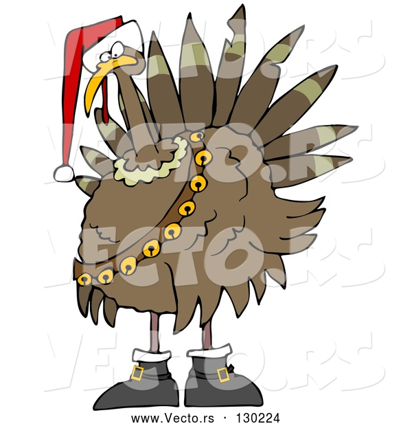Vector of Festive Turkey Bird in a Santa Hat, Boots and Jingle Bells