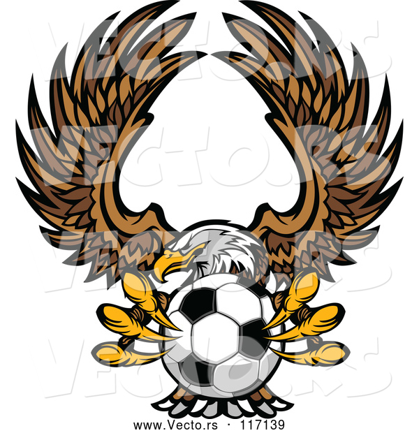 Vector of Fierce Bald Eagle Flying with a Soccer Ball in Its Talons