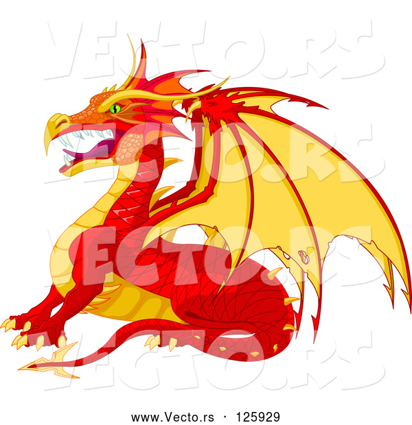 Vector of Fierce Cartoon Red and Yellow Dragon in Profile