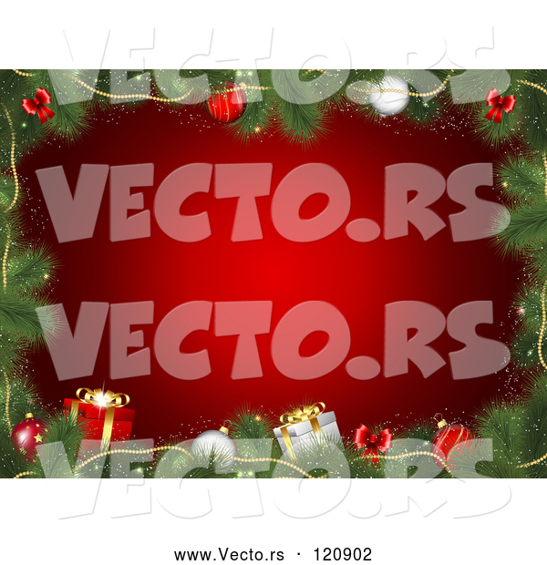 Vector of Fir Tree Christmas Frame with Presents and Baubles over Red
