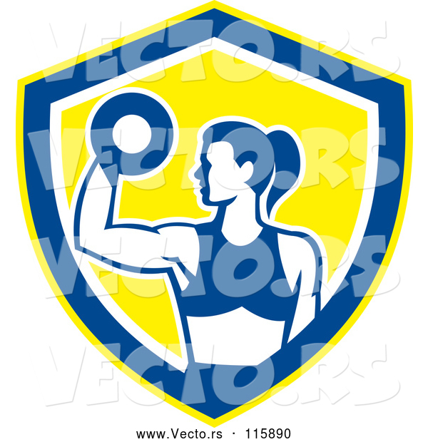 Vector of Fit Lady Doing Bicep Curls with a Dumbbell in a White Blue and Yellow Shield