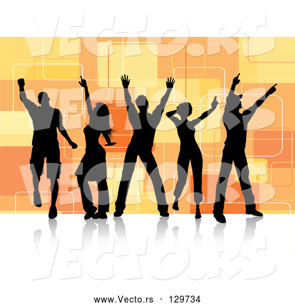 Vector of Five Black Silhouetted Dancers over a Retro Orange Square Background on a White Dance Floor