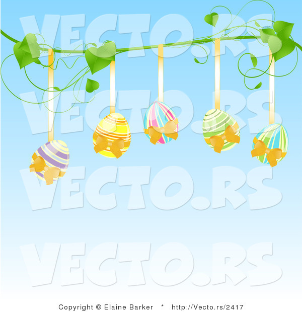 Vector of Five Painted Easter Eggs Hanging from a Vine Against Blue Background