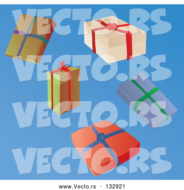 Vector of Five Wrapped Christmas Presents