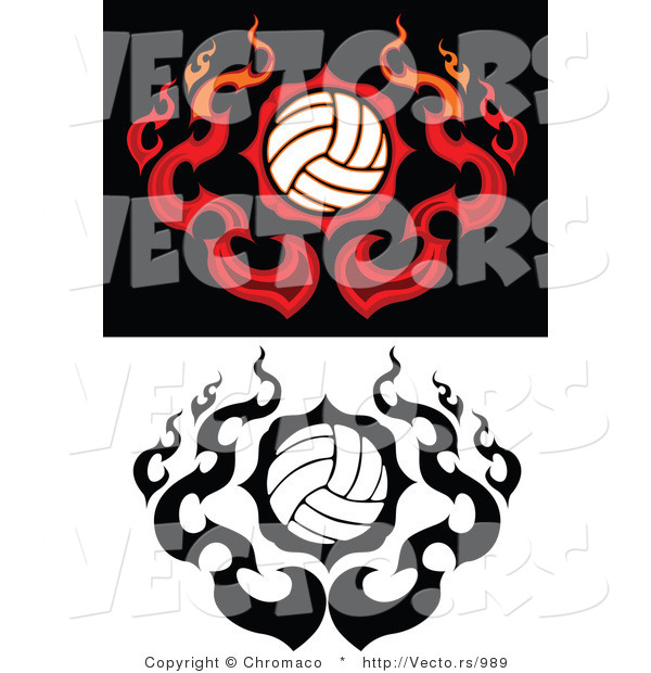 Vector of Flamed Volleyballs