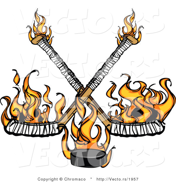 Vector of Flames Raising up from Two Crossed Hockey Sticks and a Puck
