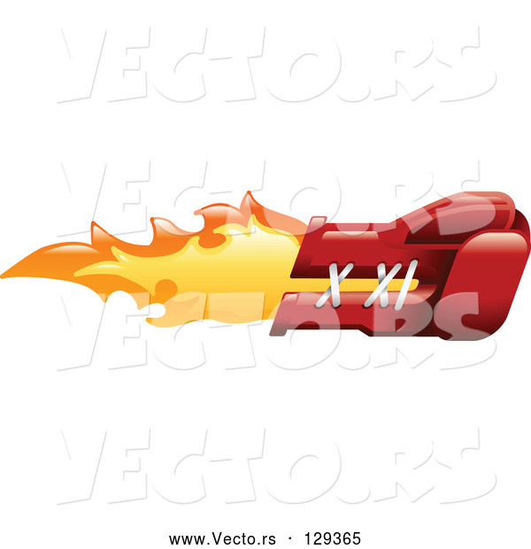 Vector of Flaming Red Boxing Glove Punching