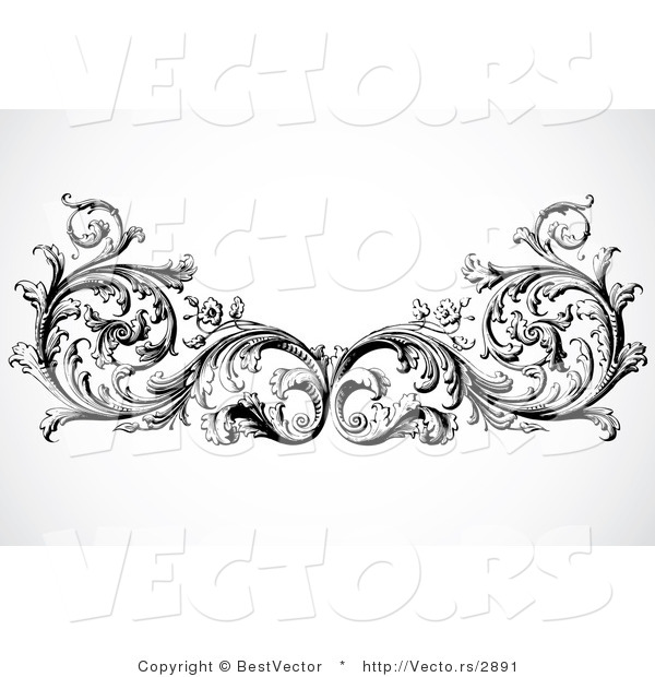 Vector of Floral Border Design Element - Black and White Version