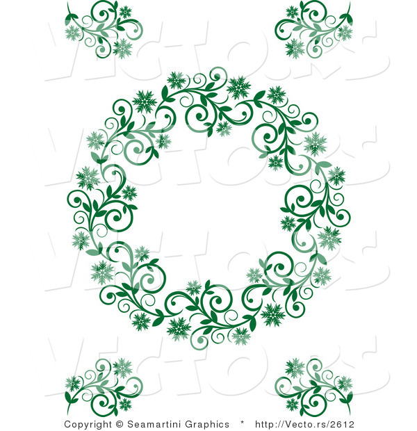 Vector of Floral Green Border Frame with Blank Copyspace Text Area