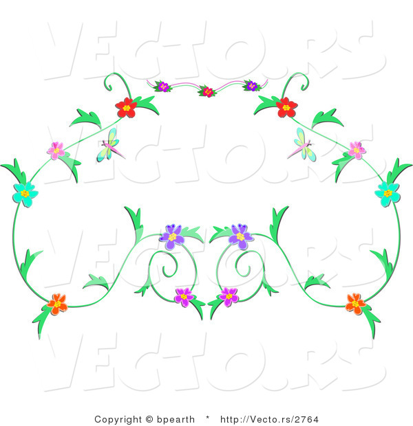 Vector of Floral Vines Border Design with Dragonflies