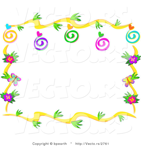 Vector of Floral Vines Border Design with Swirls, Hearts and Bugs